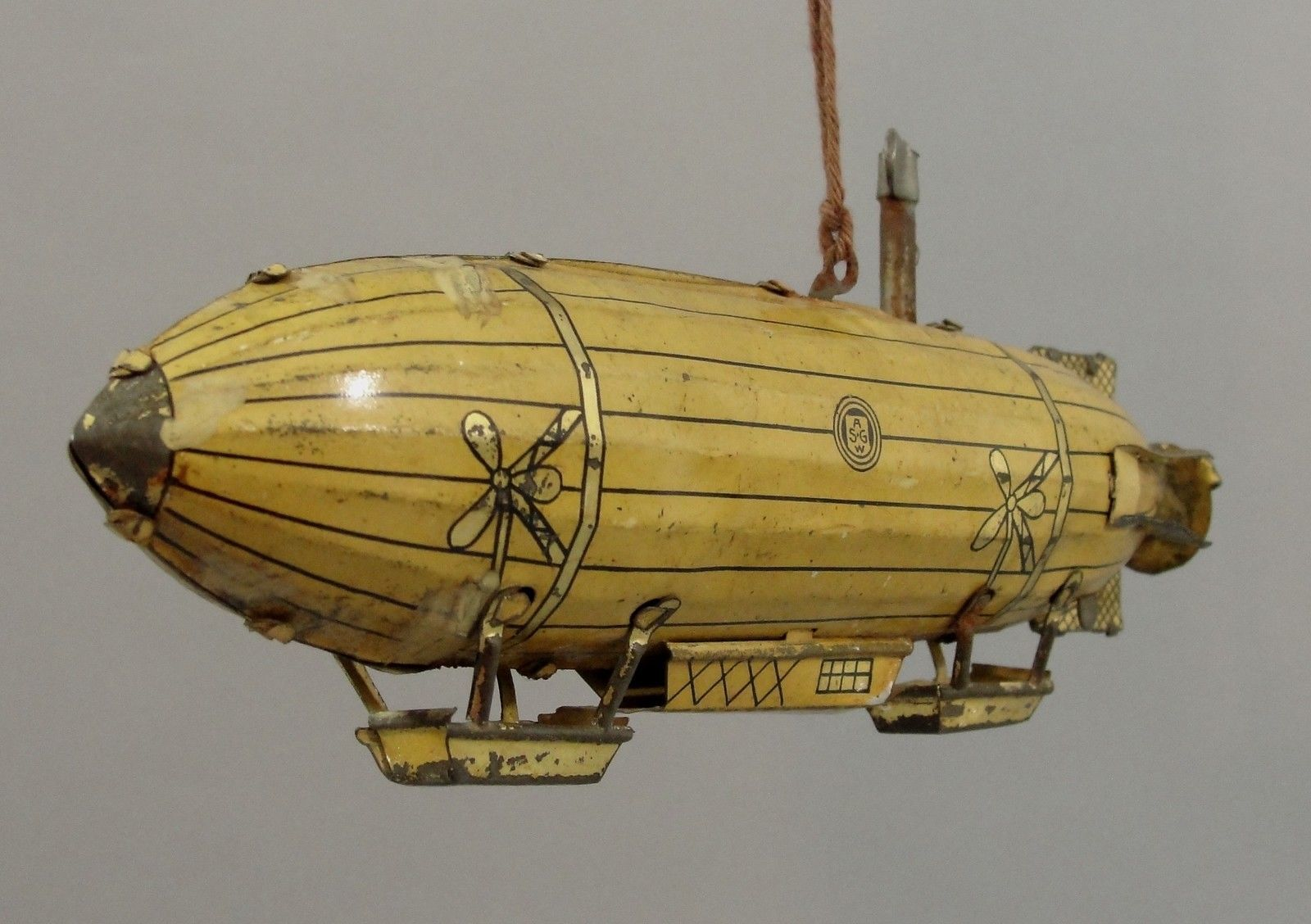 RARE Antique ASGW German Tin-Litho Wind-up Zeppelin Dirigible Blimp Airship Toy