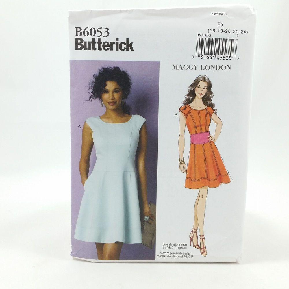 Plus Size Womens Lined Dress Size Sewing Pattern 16-24W Butterick ...