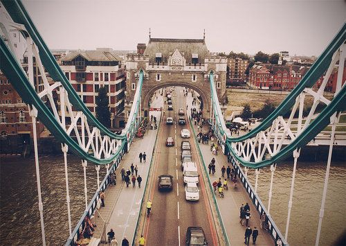 Tower Bridge in London (No, not the London Bridge). I've been there several times, but never seen it from this angle!