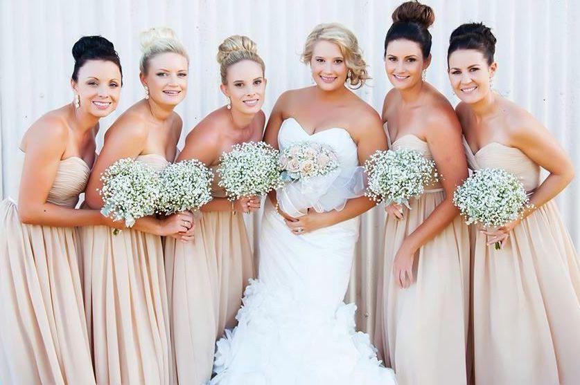 real bridesmaids in beige bridesmaid dresses   Bridesmaid Dresses ...