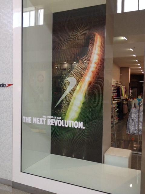 Nike Flyknit Air Max retail window display. Nike Factory