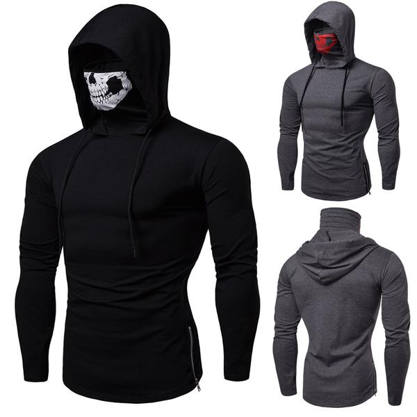 Men Hip-Hop Drawstring Zipper Skull Mask Crewneck Hoodie Sweatshirt Pullover Top