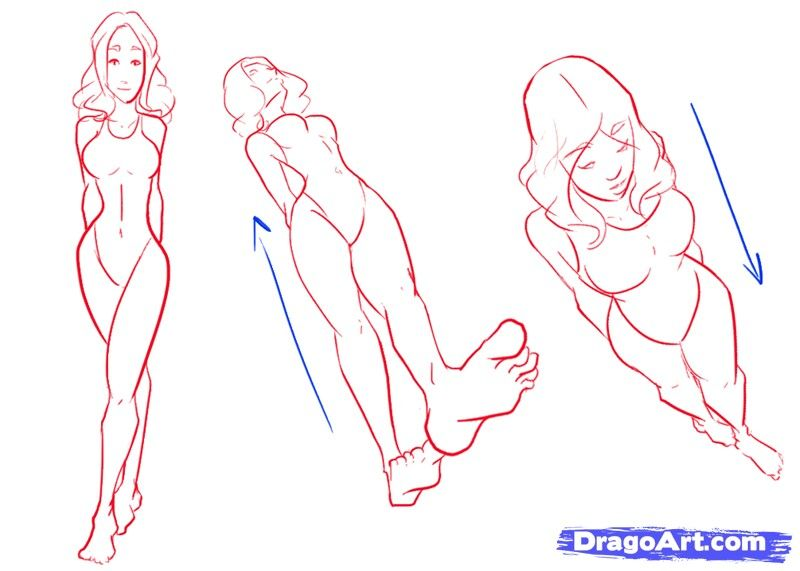 How to draw different perspectives girl woman from above from beneath
