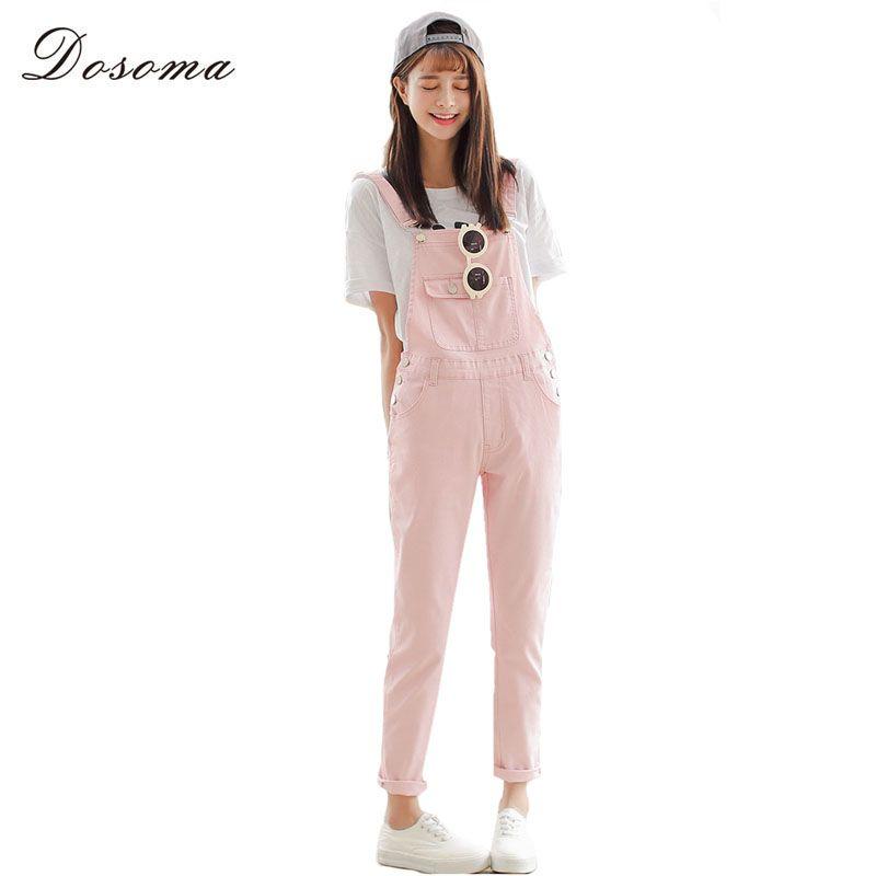 26010f60c8f 4 Colors Denim Jumpsuit 2017 Korean Preppy Style Fashion Pocket ...