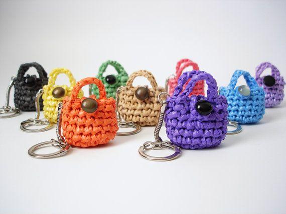 327fa72fe Eco Friendly Mini Purse Keychain, Lucky Penny Holder, Crochet Plastic Bags,  Plarn, Crocheted Keychain on Etsy