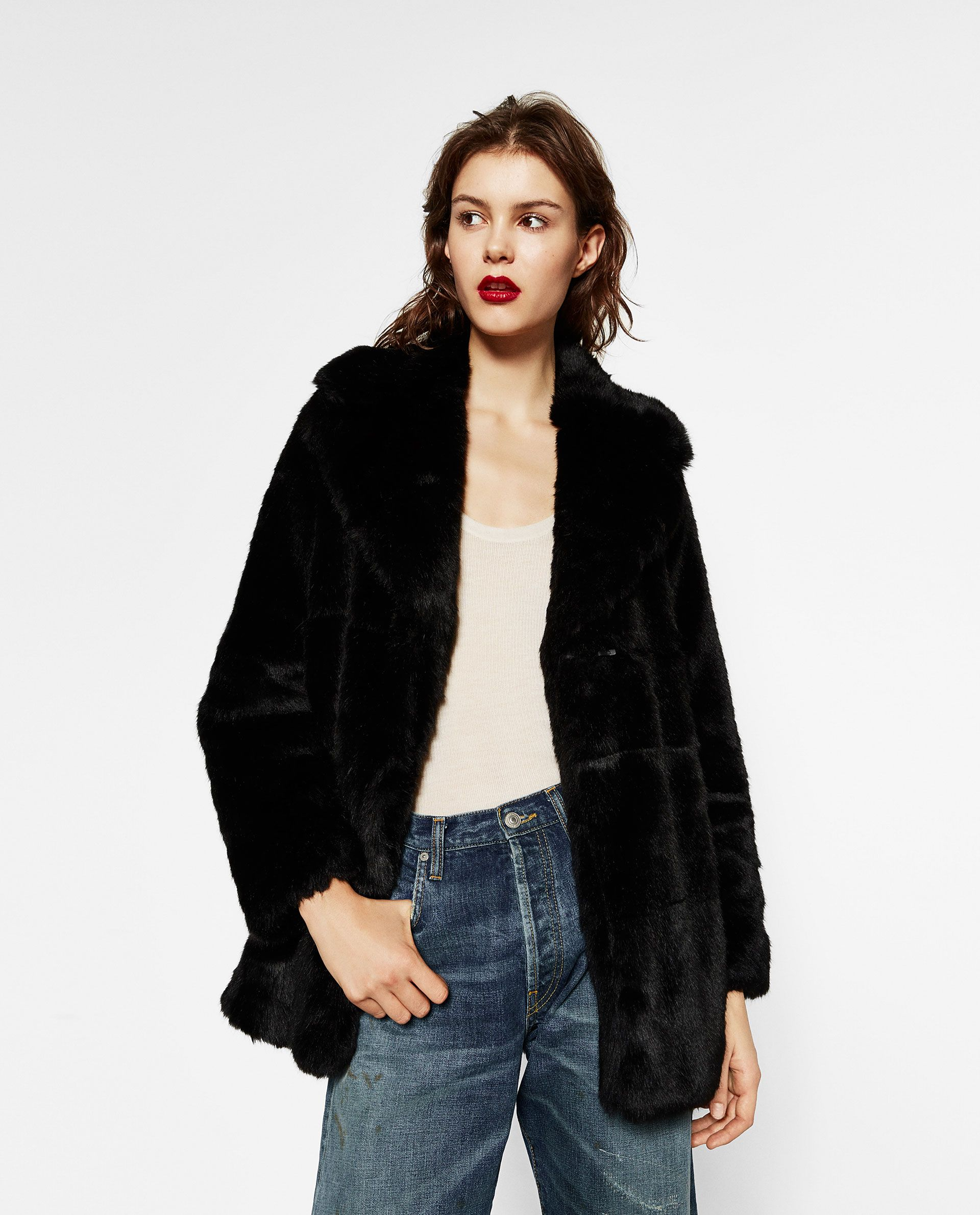 619d714a47 ZARA - BLACK FRIDAY - SHORT FAUX FUR COAT | ZARA | Black fur coat ...