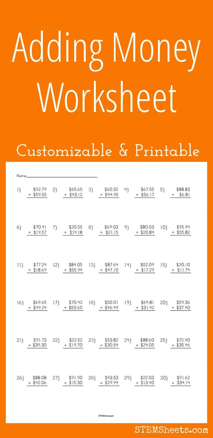 Adding Money Worksheet Customizable And Printable Math