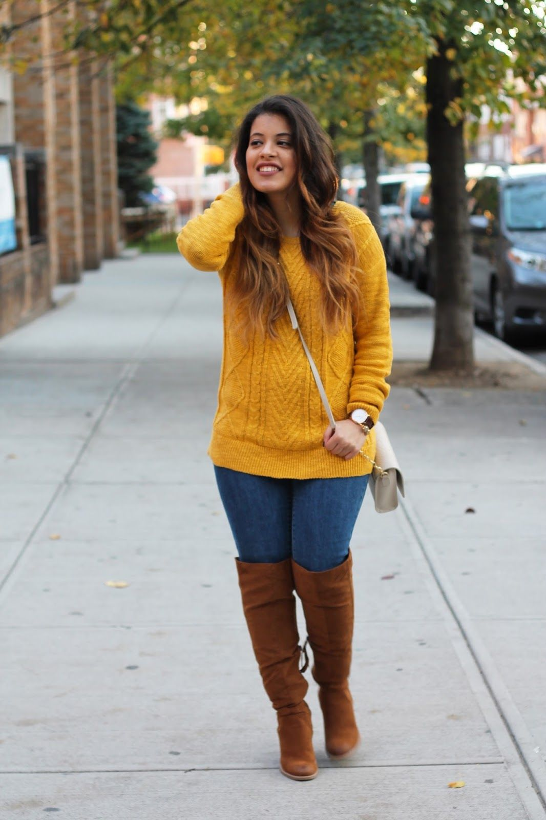 462132d4a57218 Mustard Yellow Pullover Sweater and Brown Over the Knee Boots. Fall style.  www.newyorkpetite.com