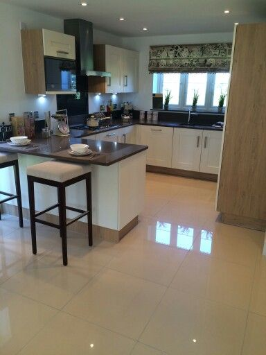 Love these shiny cream kitchen floor tiles x | House in 2018 ...
