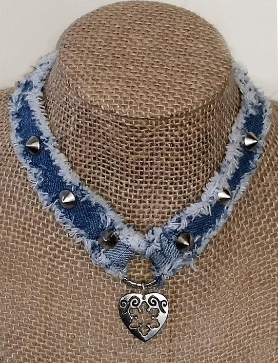 denim choker necklace handmade from recycled blue jean denim with metal studs ring with heart. Black Bedroom Furniture Sets. Home Design Ideas