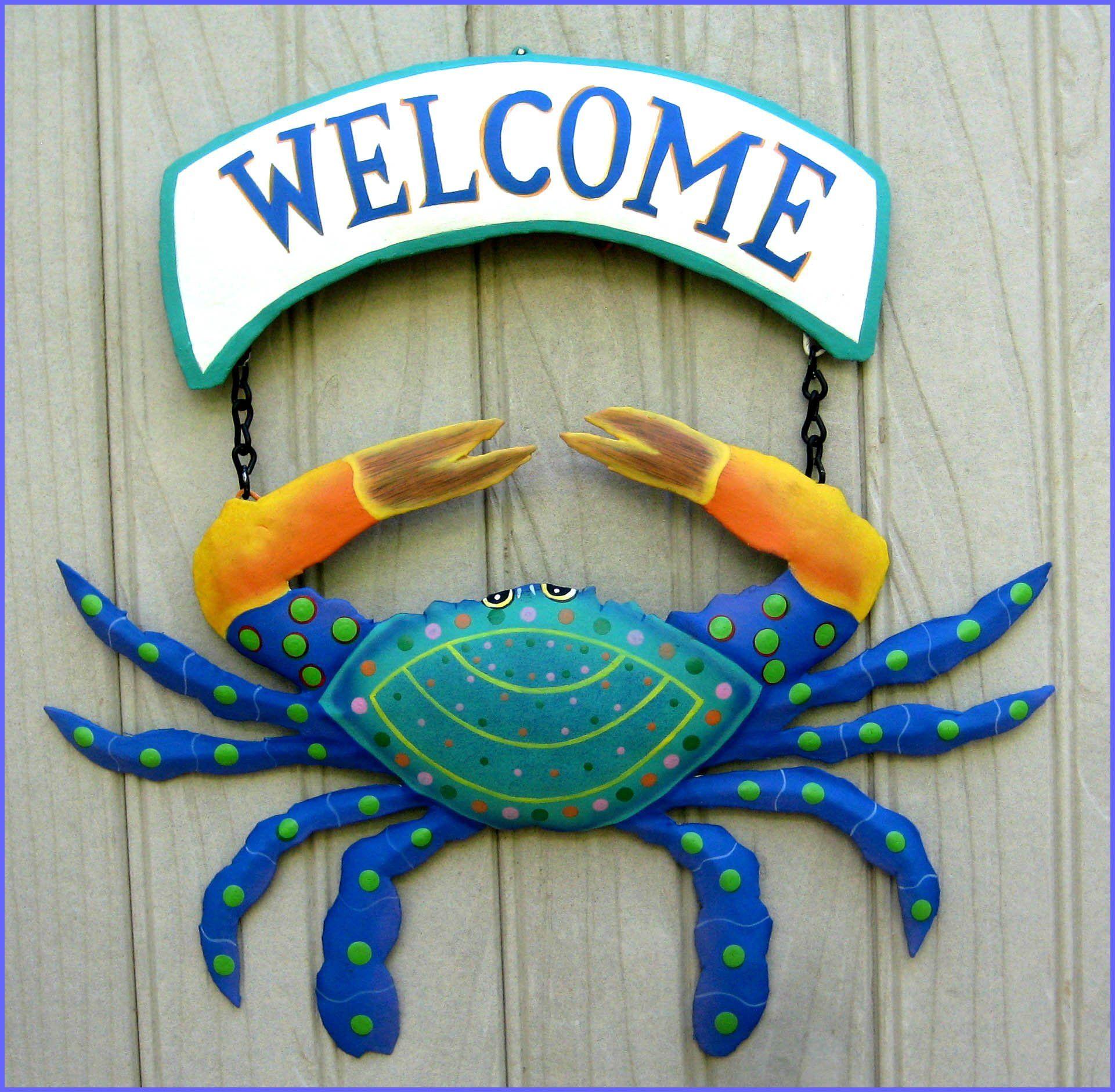 Crab Welcome Sign Coastal Decor Garden Art Wall Hanging Etsy Outdoor Metal Art Tropical Decor Metal Welcome Sign