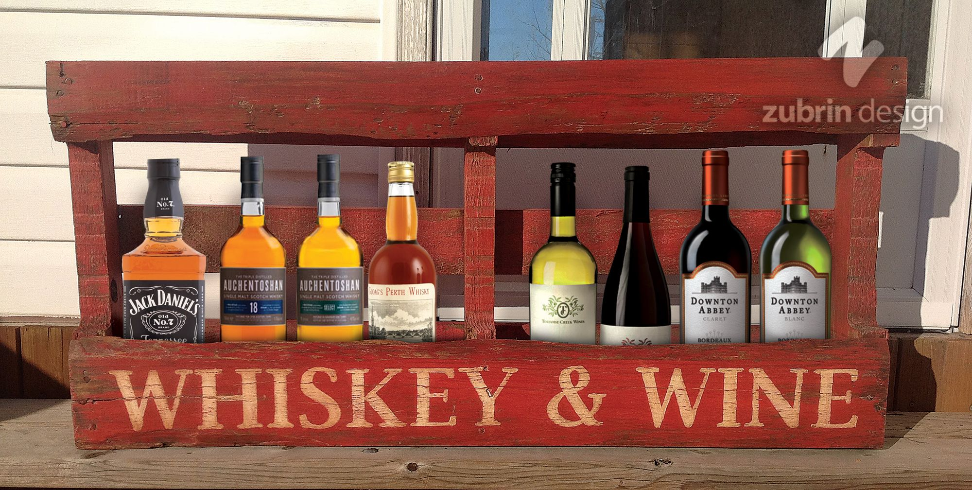 Rustic Whiskey Wine Rack Hand Made From A Wood Pallet Then Hand Painted Using Red Milk Paint Distressed And Waxed T Whiskey Rack Spool Tables Pallet Wine