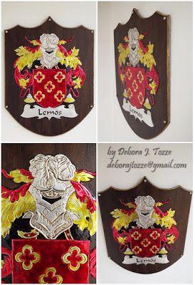 Brasão Família Lemos  Debora J. Tozze Artes - Latonagem Coat of Arms Lemos