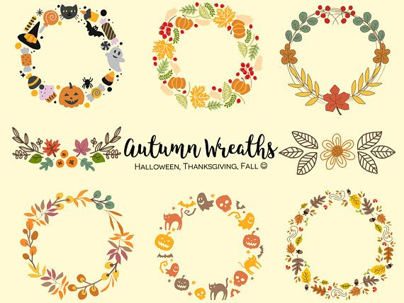 Photo of HALLOWEEN/THANKSGIVING WREATHS, hand-drawn wreaths, doodle clipart, floral wreaths, rustic, drawn wreaths, png, svg, vector wreaths, autumn