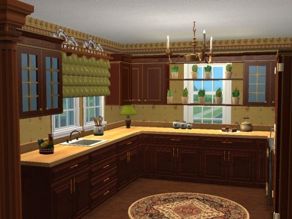 French Country Kitchen In Rich Primary Colors Virtual Home D Cor Design Using The Sims 2