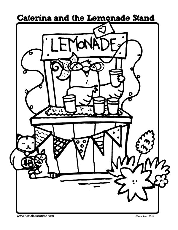 Free Coloring Page From Picture Book Caterina And The Lemonade Stand Dial 2014 Http Www Caterinascorner C Coloring Pages Free Coloring Pages Free Coloring