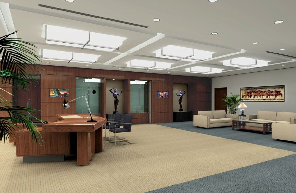Modern ceo office interior design wood accents old for Best modern office interior