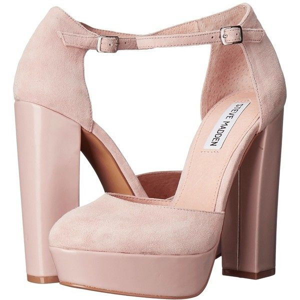 Steve Madden Darla (Blush Suede) Women's Shoes (145 CAD) ❤ liked on Polyvore featuring shoes, sandals, chunky heel platform sandals, high heeled footwear, platform sandals, wide heel sandals and chunky heel platform shoes