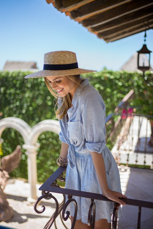 3efc1a0241 Chambray - Gal Meets Glam Travel Outfit Summer, Chambray Dress, Boater Hat,  Julia