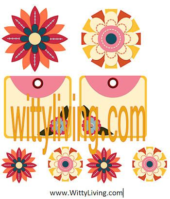 free printable scrapbook elelments flowers sunny bright
