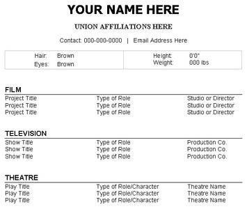 Acting Resume Template No Experience Acting Resume Acting Resume Template Resume No Experience