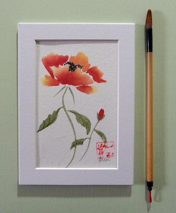 Orange Poppy Original Chinese Brush Sumi E Watercolor Painting