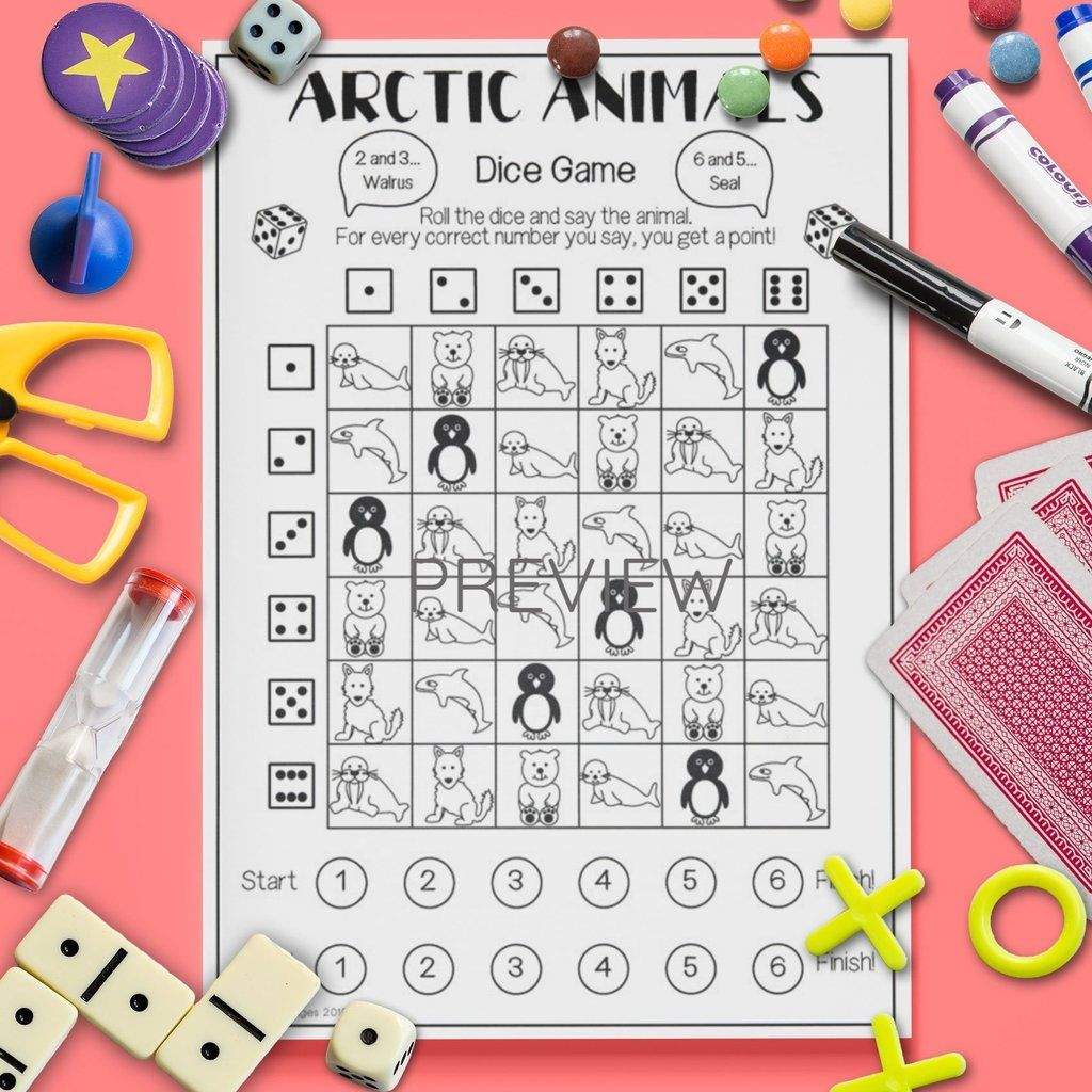 Arctic Animals Dice Game