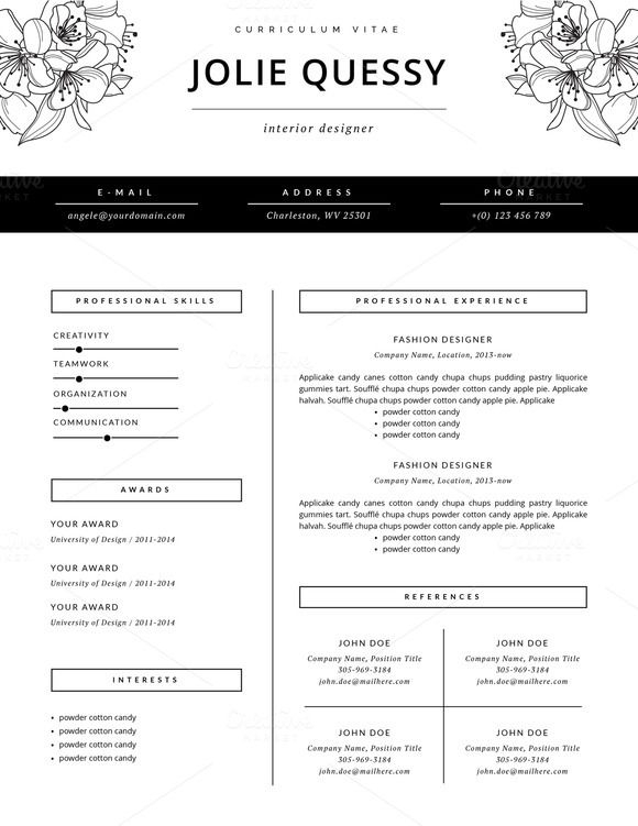 Feminine Resume Template Jolie Fashion Designer Resume Fashion Resume Resume Design
