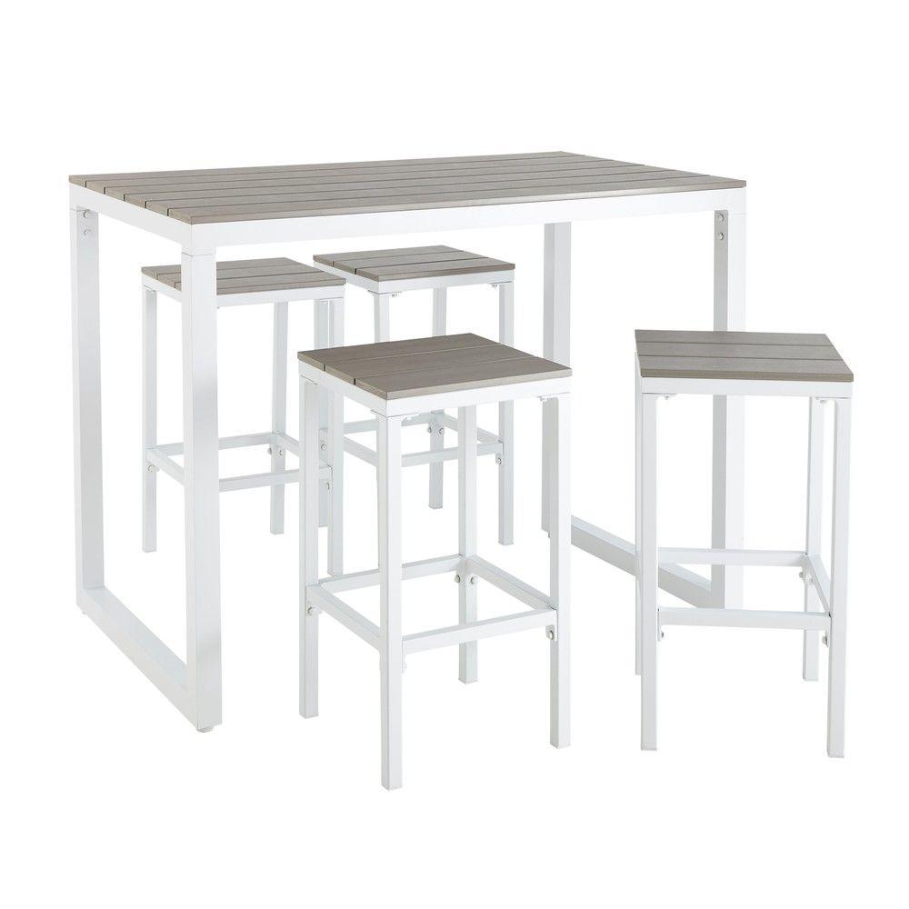 Table de jardin haute avec 4 tabourets en aluminium L128 | Terrasse ...