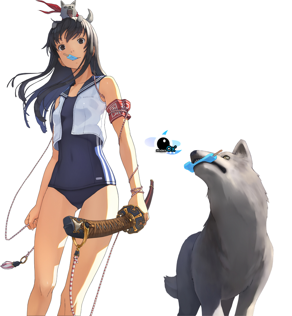 Render personnages renders yosinori fille loup glace sabre maillot bain games random chars - Personnage manga fille ...
