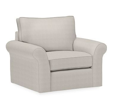 PB Comfort Roll Arm Upholstered Swivel Armchair, Box Edge Down Blend Wrapped Cushions, Sunbrella(R) Performance Boss Tweed Pebble