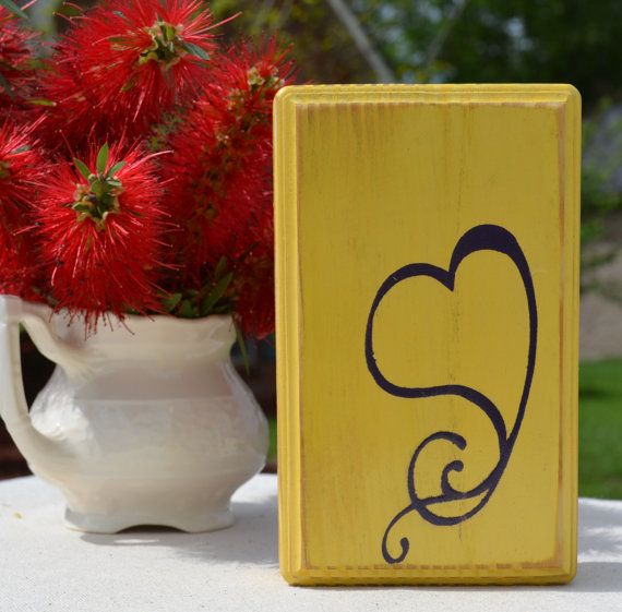 Heart custom wood sign wall art yellow  small home by CSSDesign, $10.00
