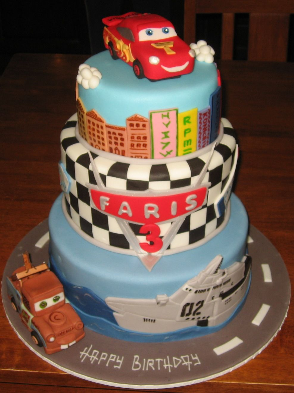 cartoon-cakes-three-tier-disney-pixar-movie-cars-2-cake ...