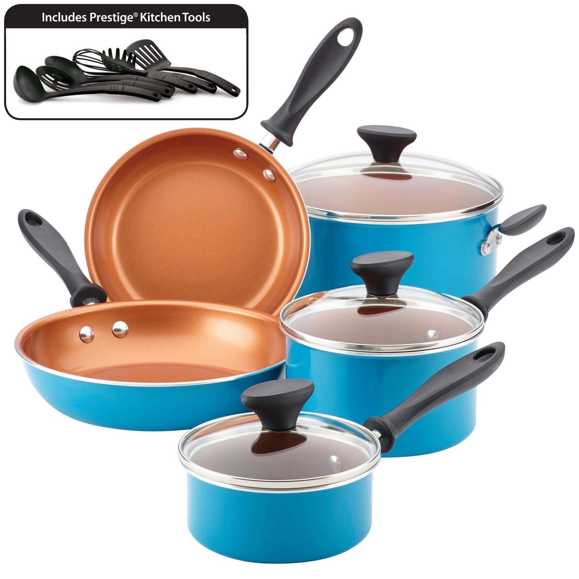 Farberware 14pc Nonstick Copper Ceramic Reliance Pro Cookware Set