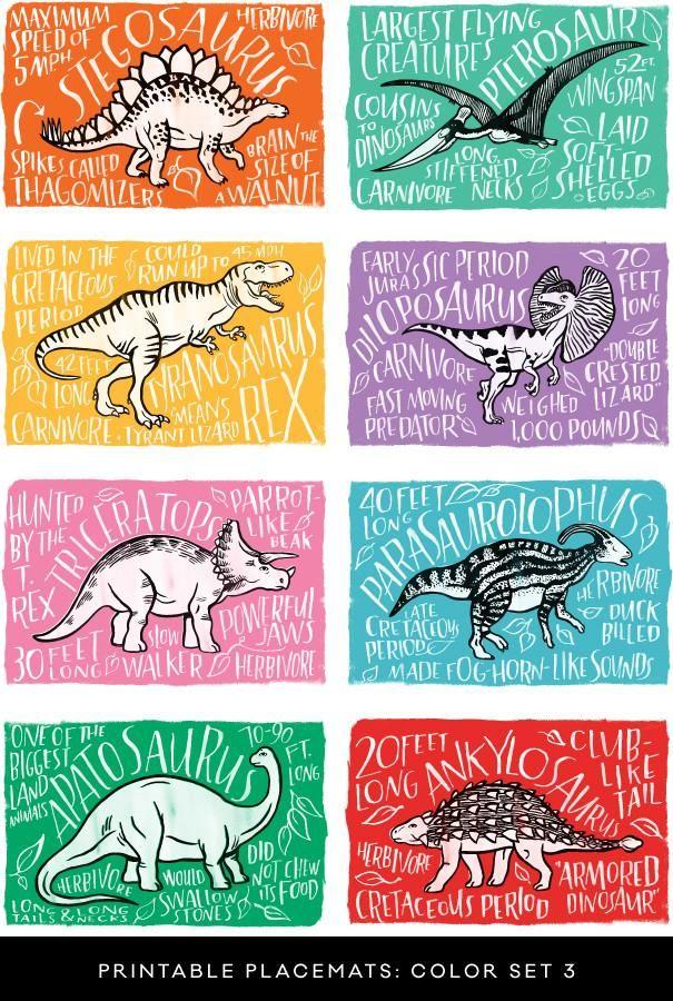 Fun Fact Placemats: Dinosaurs | Kid Stuff | Pinterest | Birthdays