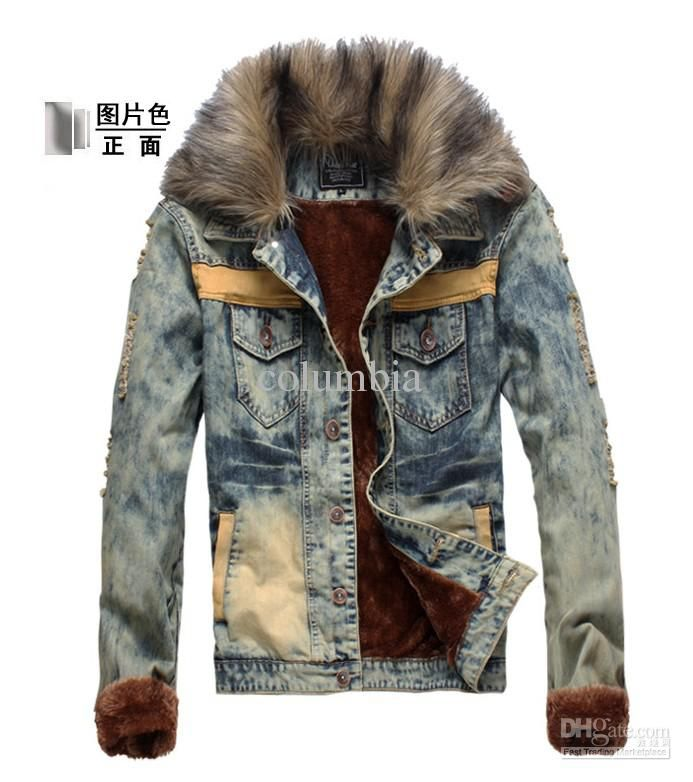 2752# Hot New Fashion Men'S Cowboy Jacket Men Slim Fur Winter With Faux Fur  Collar Plus Velvet Cowboy Jacket Coat Outerwear Jackets Style Official  Jackets ...