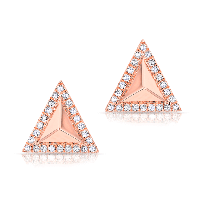 14KT Rose Gold Diamond Triangle Pyramid Stud Earrings ...