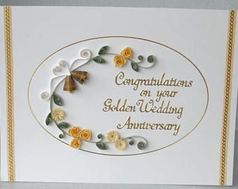th anniversary card golden wedding quilled paper quilling also rh pinterest