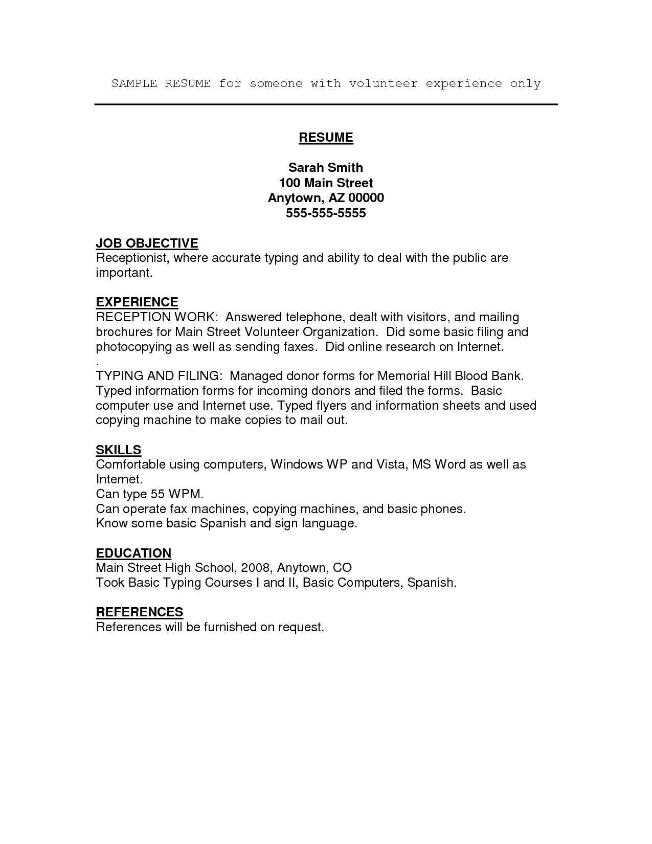Example of volunteer work on resume