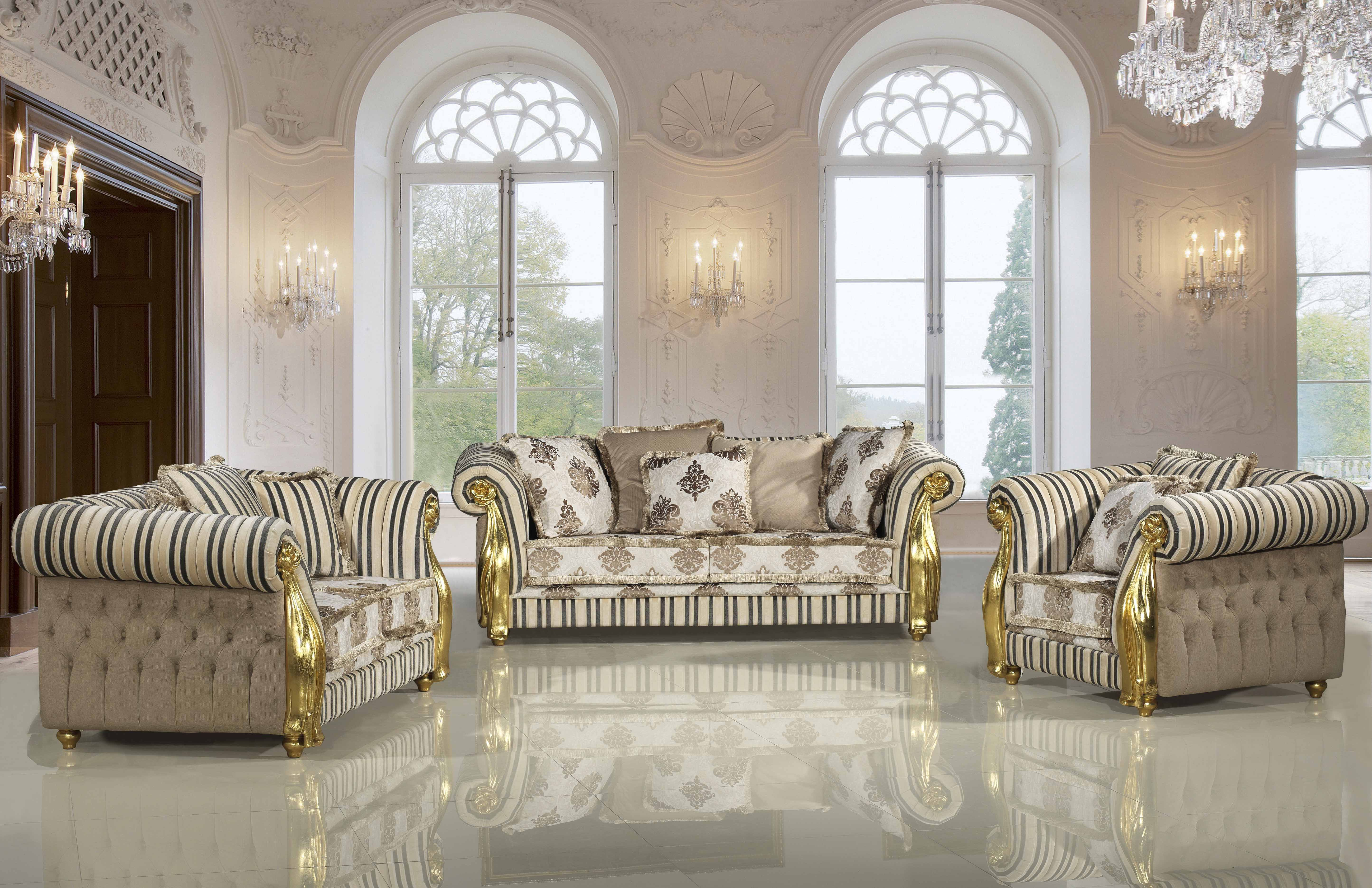 Amazing Cream Upholstered Tufted Chaise Lounge Sofa With Gold Frame Italian Furniture Living Room Wooden Sofa Set Designs Sofa Set Designs