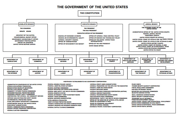 Organizational Chart Us Government American History Social Stus Federal Worksheets
