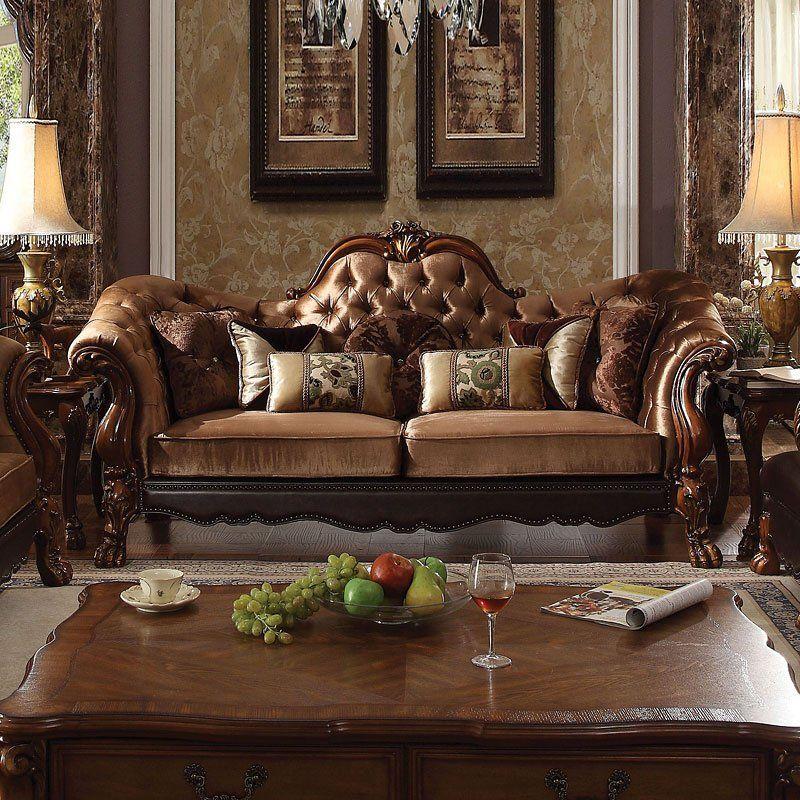 Dresden Sofa Golden Brown Velvet Minimalist Living Room Design Sofa Upholstery Shabby Chic Furniture