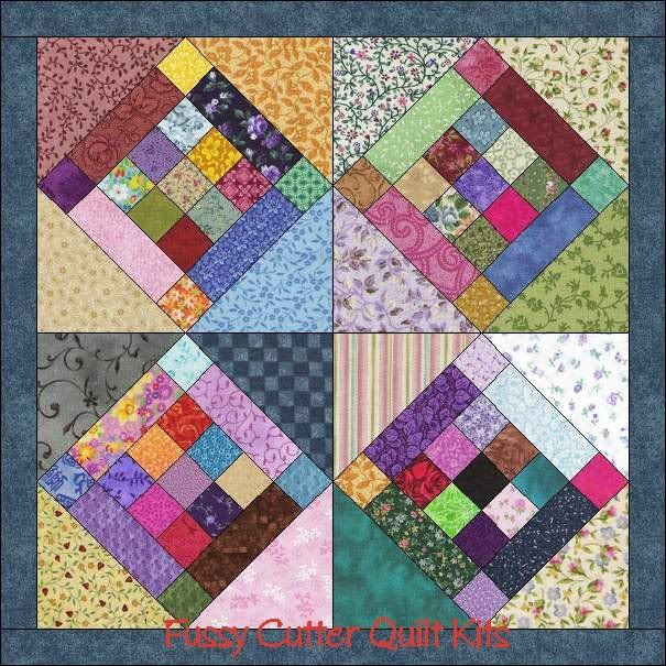9 Patch Scrappy Fabric Patchwork Prim Wall Hanging Easy to Make ... : quilted wall hanging kits - Adamdwight.com