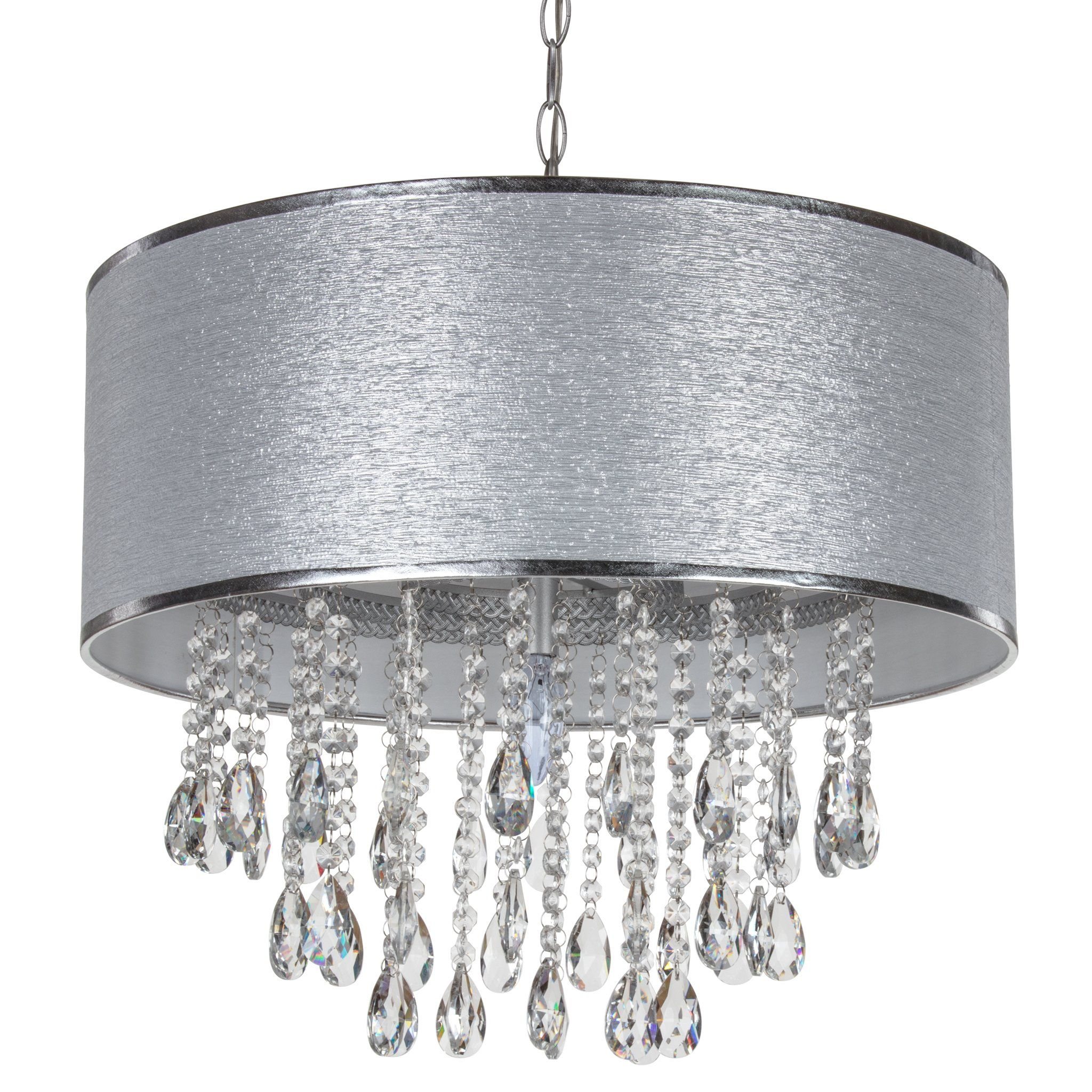 Large 5 Light Crystal Plug In Chandelier With Cylinder Shade Silver In 2021 Plug In Chandelier Hanging Ceiling Lamps Glass Pendant Light