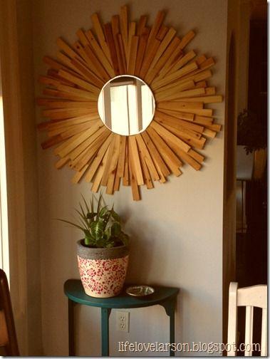 Life Love Larson Diy Sunburst Mirror Made With Wood Shims Sunburst Mirror Diy Mirror Diy Mirror Decor