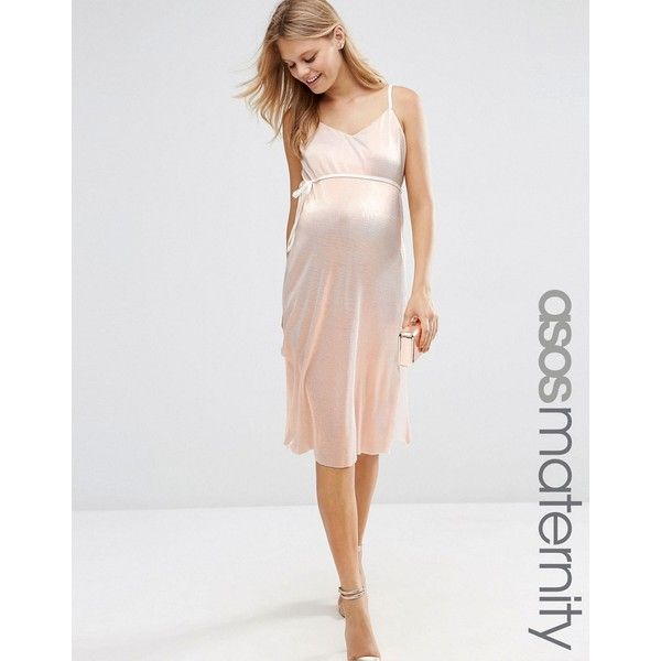 ASOS Maternity Cami Dress In Metallic With Pleats ( 50) ❤ liked on Polyvore  featuring 9b157718a