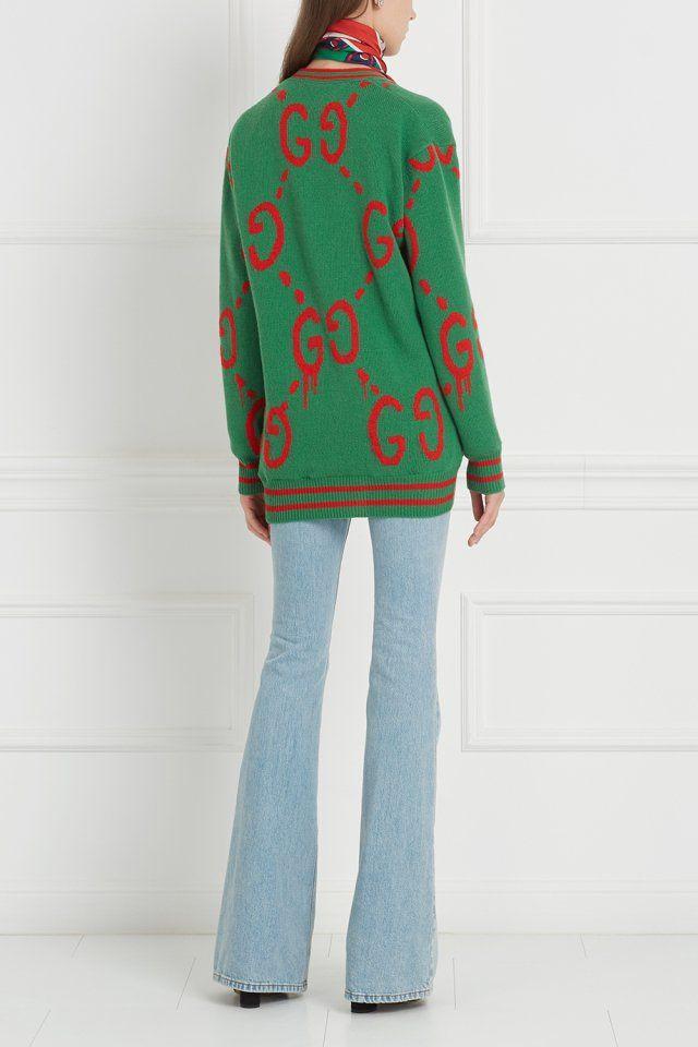 Шерстяной кардиган Gucci - Свободный кардиган зеленого цвета из  лимитированной линии Gucci Ghost в интернет- f4e1d820c0b