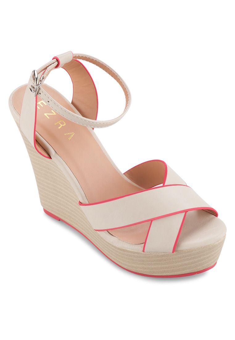 2795120f542 EZRA Strappy Wedges with Contrasting Piping I ZALORA Thailand ...
