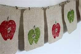 burlap apple banner