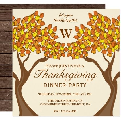 Orange Autumn Trees Monogram Thanksgiving Party Card